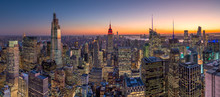 New York City Manhattan Buildings Skyline Sunset Evening