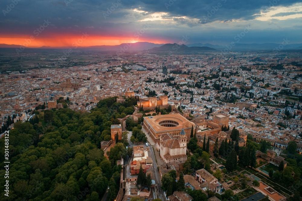 Fototapety, obrazy: Granada Alhambra aerial view sunrise