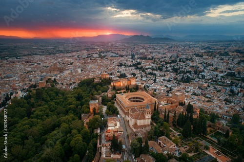 Granada Alhambra aerial view sunrise Canvas Print