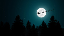 Santa Claus Flying In His Sleigh Over The Moon