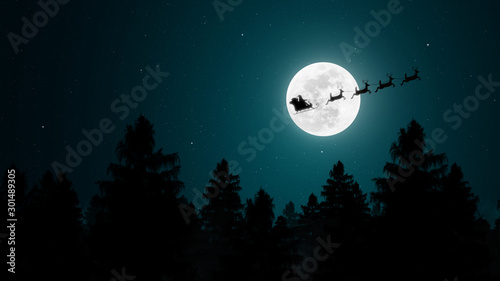 Obraz Santa Claus flying in his sleigh over the moon - fototapety do salonu