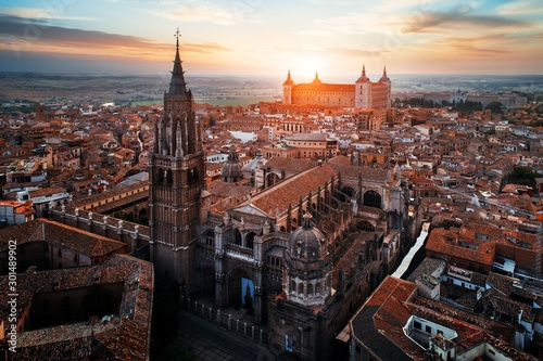 Aerial view of Toledo Cathedral sunset