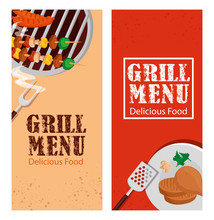 Set Poster Of Grill Menu With ...