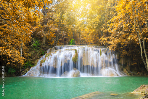 Canvas Prints Forest river Waterfalls In Deep Forest at Erawan Waterfall in National Park Kanchanaburi Thailand