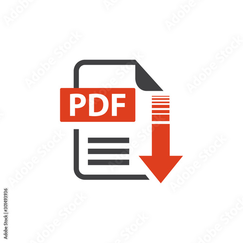 Fotografía flat sign of pdf download icon button isolated on white background