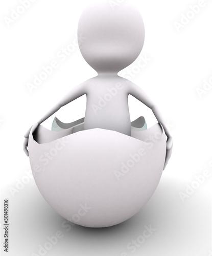 3d man standing inside egg concept Fototapet