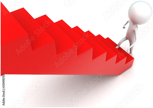 Obraz na plátně 3d man stepping into stairs concept