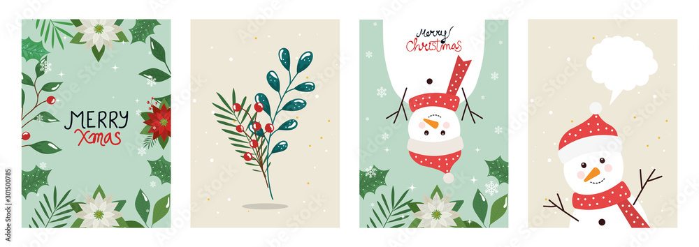 Fototapeta set poster of merry christmas with leafs and snowmen vector illustration design