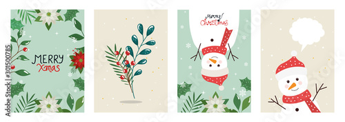 set poster of merry christmas with leafs and snowmen vector illustration design Wallpaper Mural