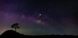 Leinwandbild Motiv Panorama blue night sky milky way and star on dark background.Universe filled, nebula and galaxy with noise and grain.Photo by long exposure and select white balance.Dark night sky.