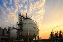 Gas Storage Sphere Tanks And Pipeline In Petrochemical Industrial Plant On Sky Sunset Background, Manufacturing Of Petroleum Industry Plant