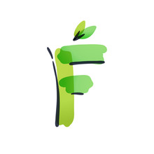 F Letter Ecology Logo With Gre...