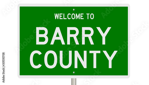 Tela  Rendering of a green 3d highway sign for Barry County
