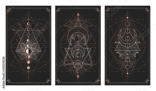 Foto  Vector set of three dark backgrounds with sacred symbols, grunge textures and frames