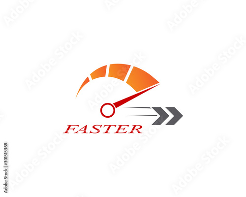 Faster logo template vector icon illustration design Wallpaper Mural