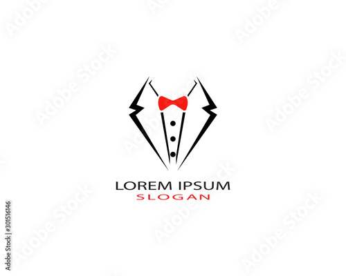 Valokuvatapetti Tuxedo man logo design vector template