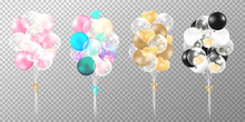 Set Of Balloons On Transparent Background. Realistic Glossy Pink, Gold, Black And Pastel Balloons Vector Illustration. Party Balloons Decorations Wedding, Birthday, Celebration And Anniversary Card De