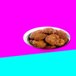 canvas print picture - Cookies or Chocolate chips cookies with concept design.