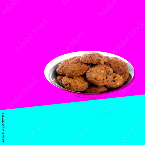 canvas print motiv - heinteh : Cookies or Chocolate chips cookies with concept design.
