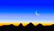 Leinwanddruck Bild - rising moon of ramdan and silhouette of mountains and blue sky in the background with stars
