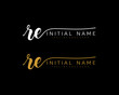 R E Initial handwriting logo vector. Hand lettering for designs.
