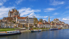 Panoramic View Of  Auxerre, Fr...