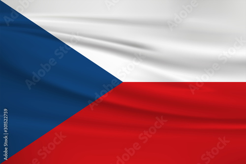 Czech Republic flag vector icon, Czech Republic flag waving in the wind Canvas Print
