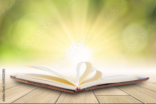 Fotografie, Tablou  The book is opened Placed on a wooden background with bokeh blur in green light