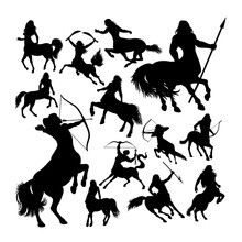 Centaur Ancient Creature Mythology Silhouettes. Good Use For Symbol, Logo, Web Icon, Mascot, Sign, Or Any Design You Want.