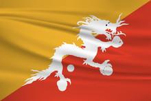 Illustration Of A Waving Flag Of The Bhutan