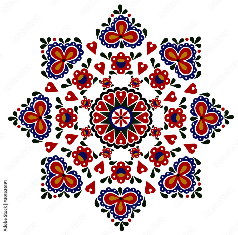 Colorful pattern, folk ornament on a white background.