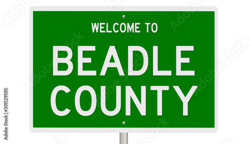 Photo Rendering of a green 3d highway sign for Beadle County