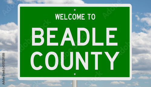 Rendering of a green 3d highway sign for Beadle County Canvas Print