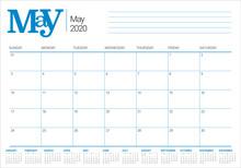 May 2020 Desk Calendar Vector ...