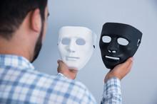 Man Hand White And Black Mask