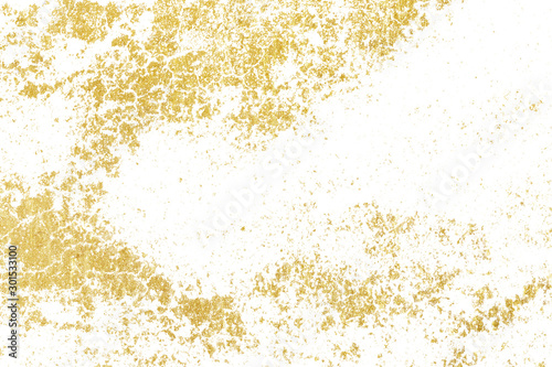 Obraz Brush stroke design element. Gold watercolor texture paint stain abstract illustration. - fototapety do salonu