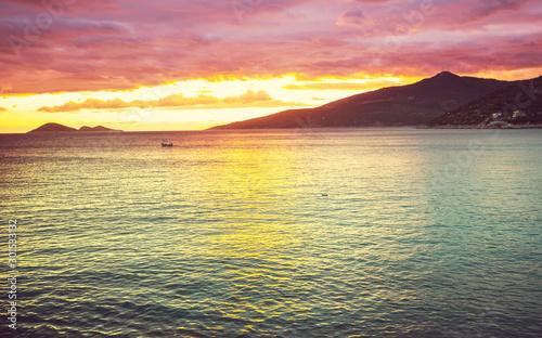 Foto auf AluDibond See sonnenuntergang Sea sunset
