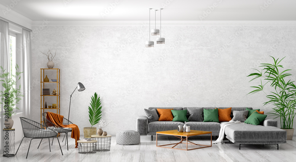Fototapeta Interior of modern living room with grey sofa, coffee tables and armchairs 3d rendering
