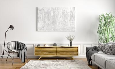 Interior design of modern scandinavian apartment, living room 3d rendering