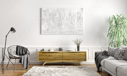 Interior design of modern scandinavian apartment, living room 3d rendering Fototapet