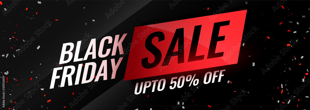 Fototapeta black friday event sale with confetti design