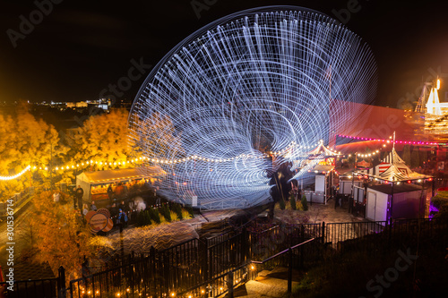 Helsinki, Finland - 19 October 2019: The Carnival of Light event at the Linnanmaki amusement park Canvas Print