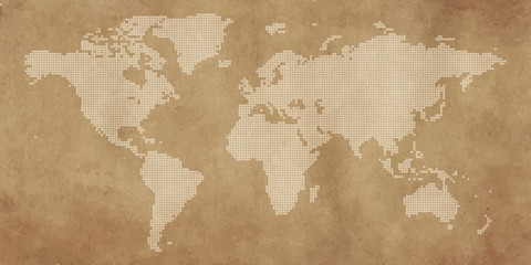Fototapeta na wymiar Dotted world map vintage background