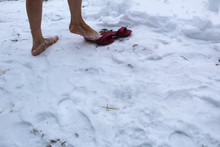 Photo Bare Feet And Snow. A W...