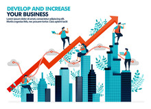 Vector Illustration Of Improve Business Performance By Investment In Real Estate. Significant Business Growth With Statistics And Charts. Develop Company Building Asset. For Landing Page, Web, Poster