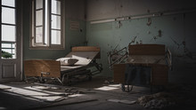 Broken Beds At Abandoned Hospi...