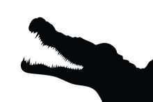 Vector Silhouette Of Alligator On White Background. Symbol Of Animal, Wild, Danger, Zoo, Predator, Reptile.