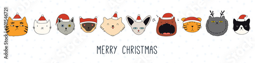 Montage in der Fensternische Abbildungen Hand drawn card, banner with different cute cats faces in Santa Claus hats, text Merry Christmas. Vector illustration. Line drawing. Isolated objects. Design concept for holiday print, invite.