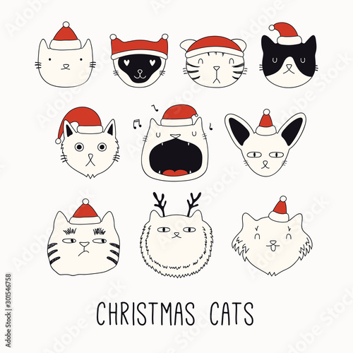 Montage in der Fensternische Abbildungen Collection of cute funny doodles of different cats faces in Santa Claus hats. Isolated objects on white. Hand drawn vector illustration. Line drawing. Design concept for Christmas card invite, print.