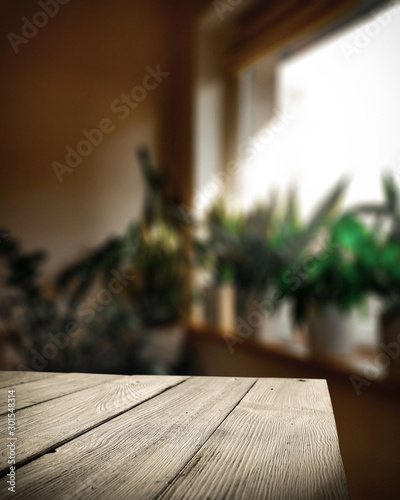 Table background of free space and winter window background